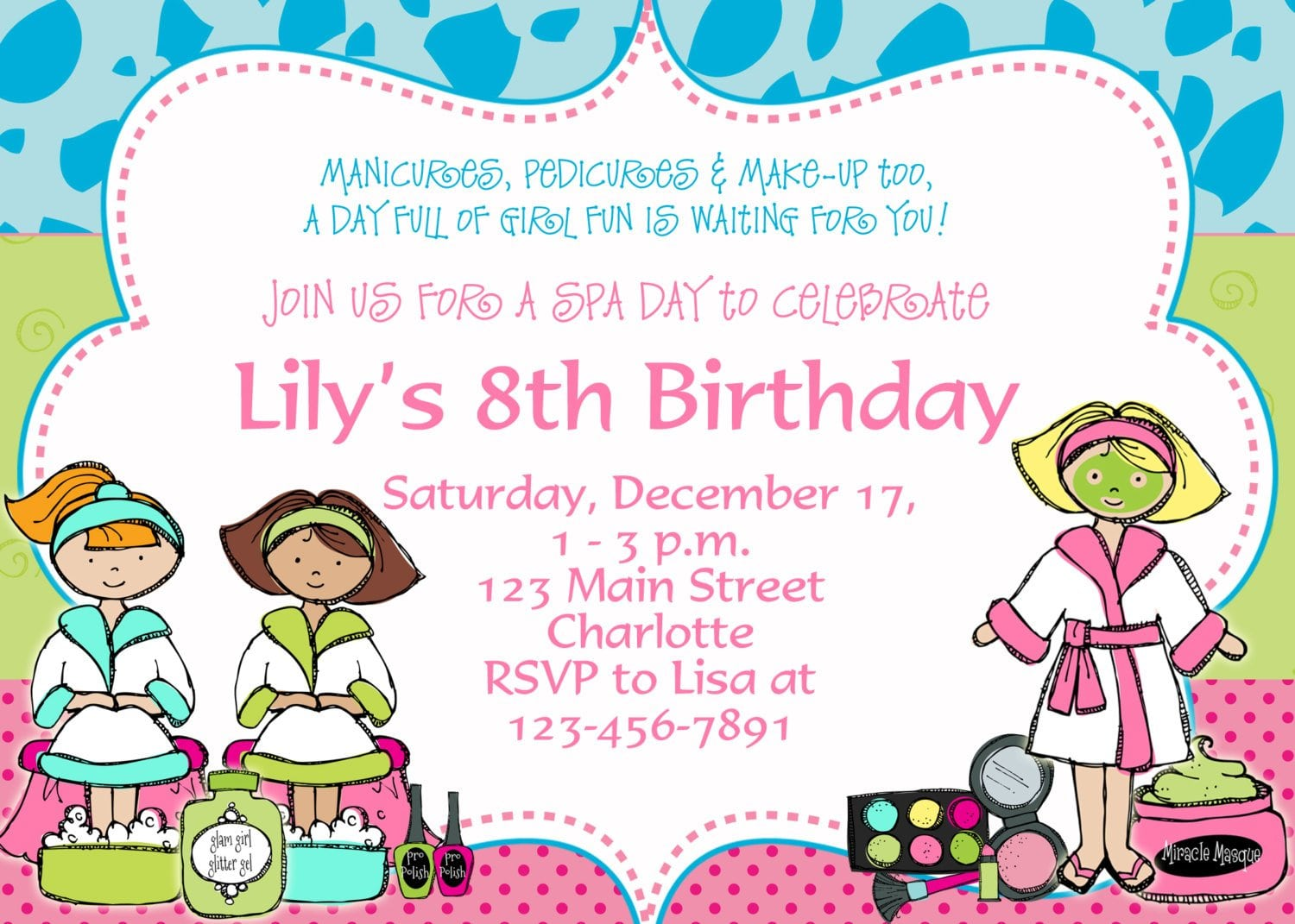 birthday party templatesFree Printable Spa Birthday Party Invitations xgGSzWa3