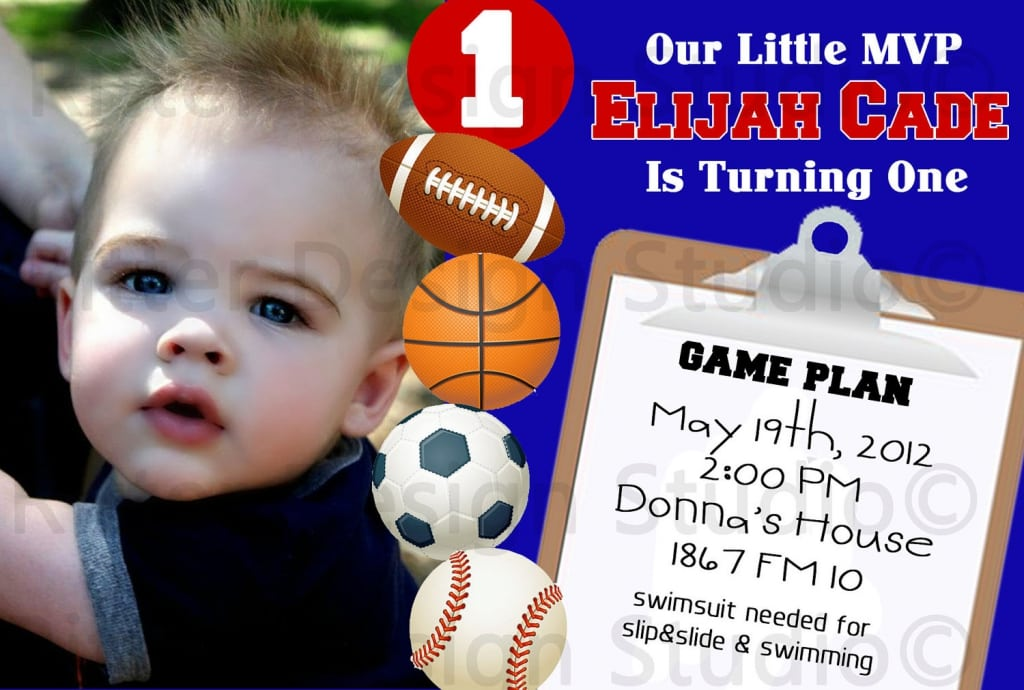 Printable Sports Themed Birthday Party Invitations
