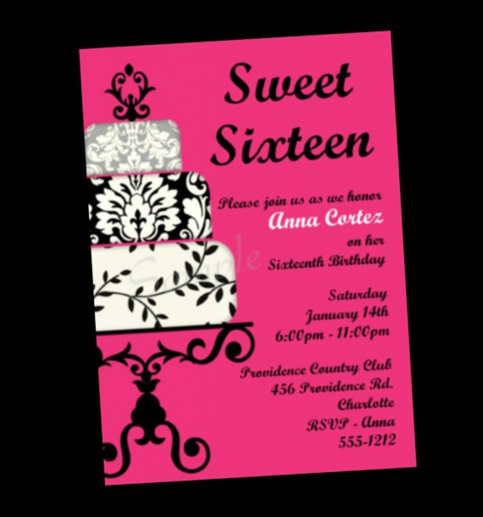 image relating to Printable Sweet 16 Invitations known as Printable Adorable 16 Invites