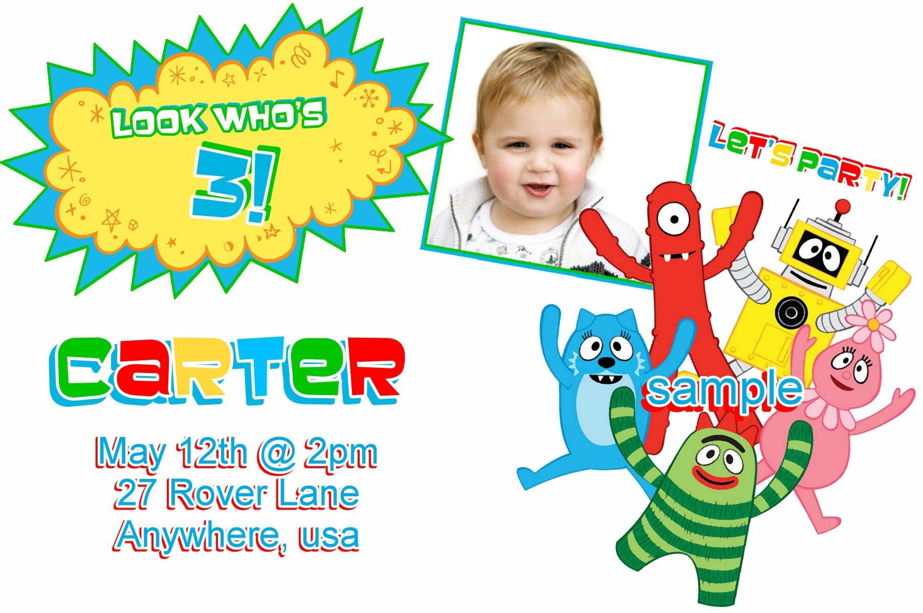 Printable Yo Gabba Gabba Birthday Invitations