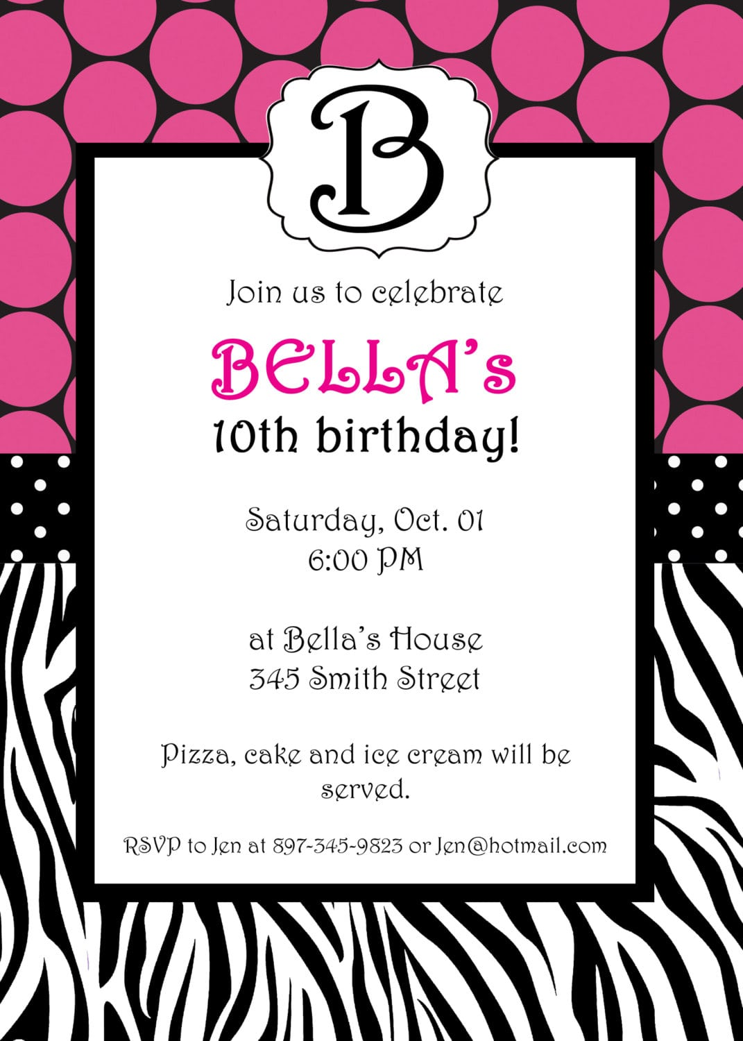 Free printable zebra invitation template for Leopard print invitations templates