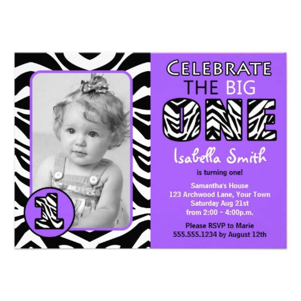 Purple First Birthday Invitation 5
