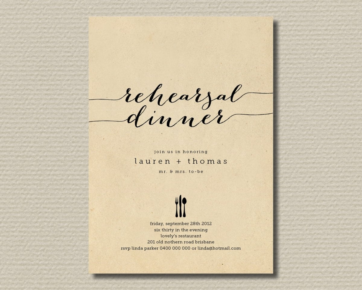 Rehearsal Dinner Invitation Template Printable Free