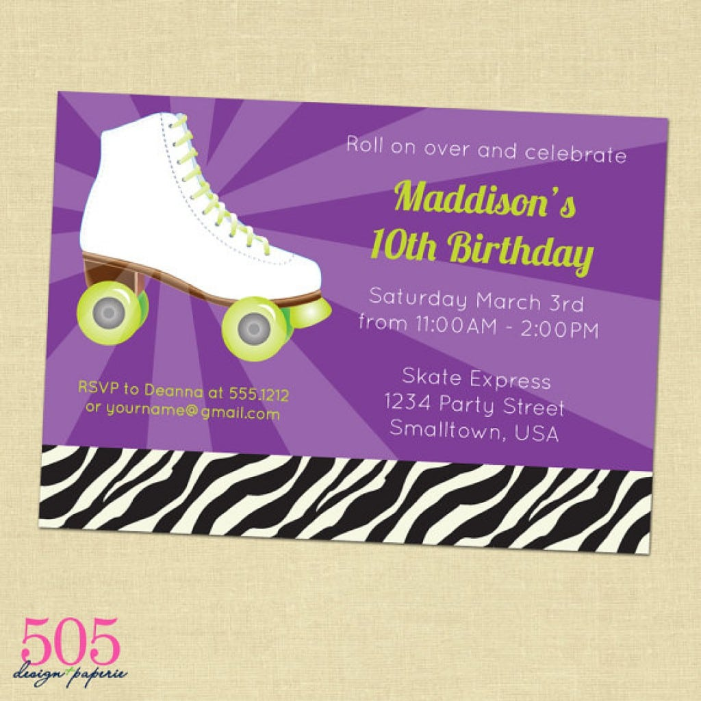 Roller Skating Birthday Invitations Free Printable 4