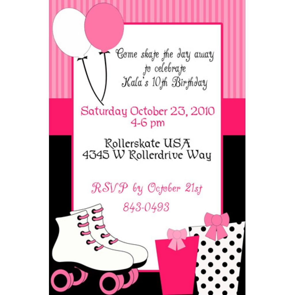Roller Skating Birthday Party Invitations for your inspiration to make invitation template look beautiful