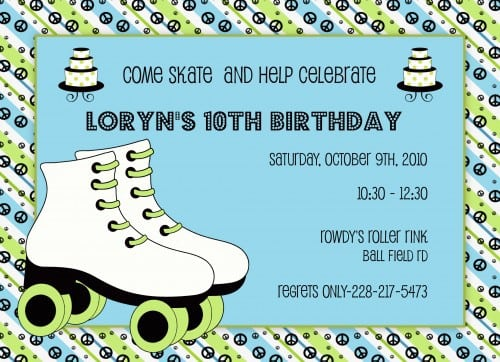 Roller Skating Invites Free Printable 3