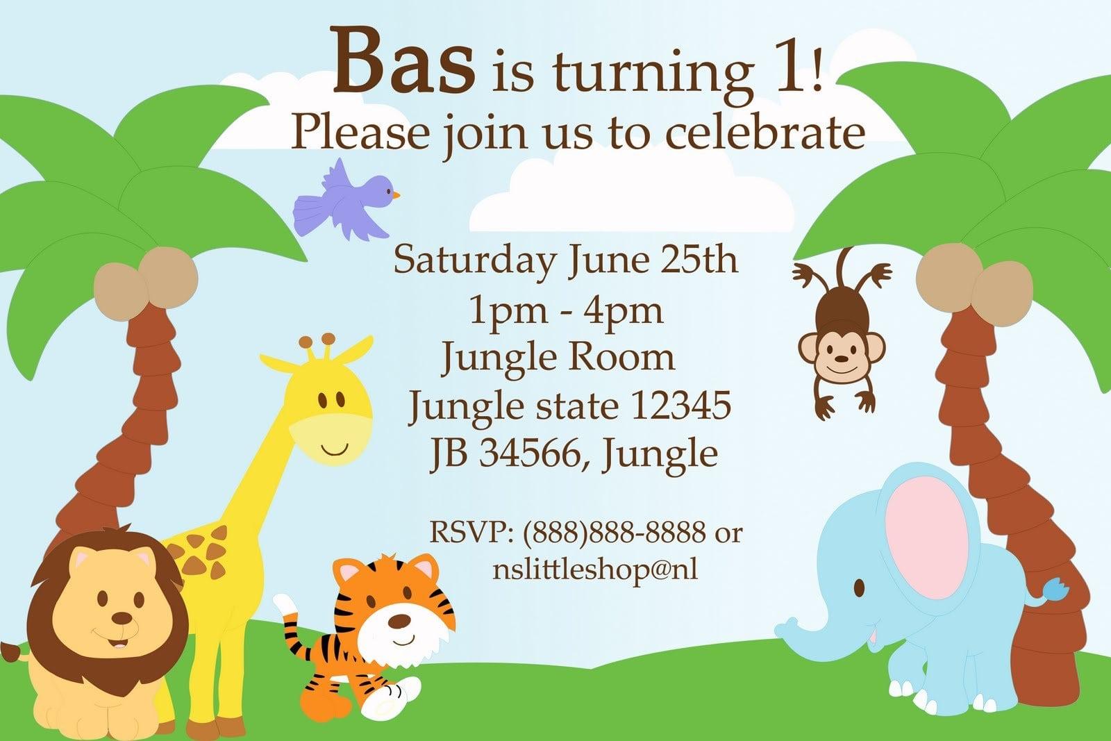 Safari Birthday Invitation Template