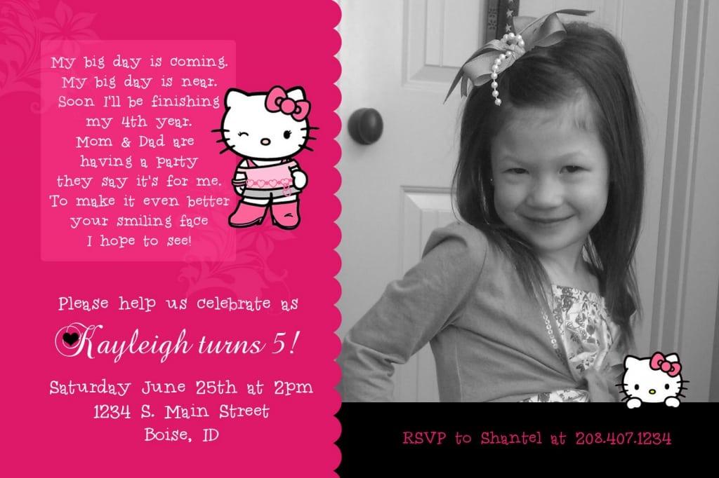 Sample Birthday Invitation Hello Kitty