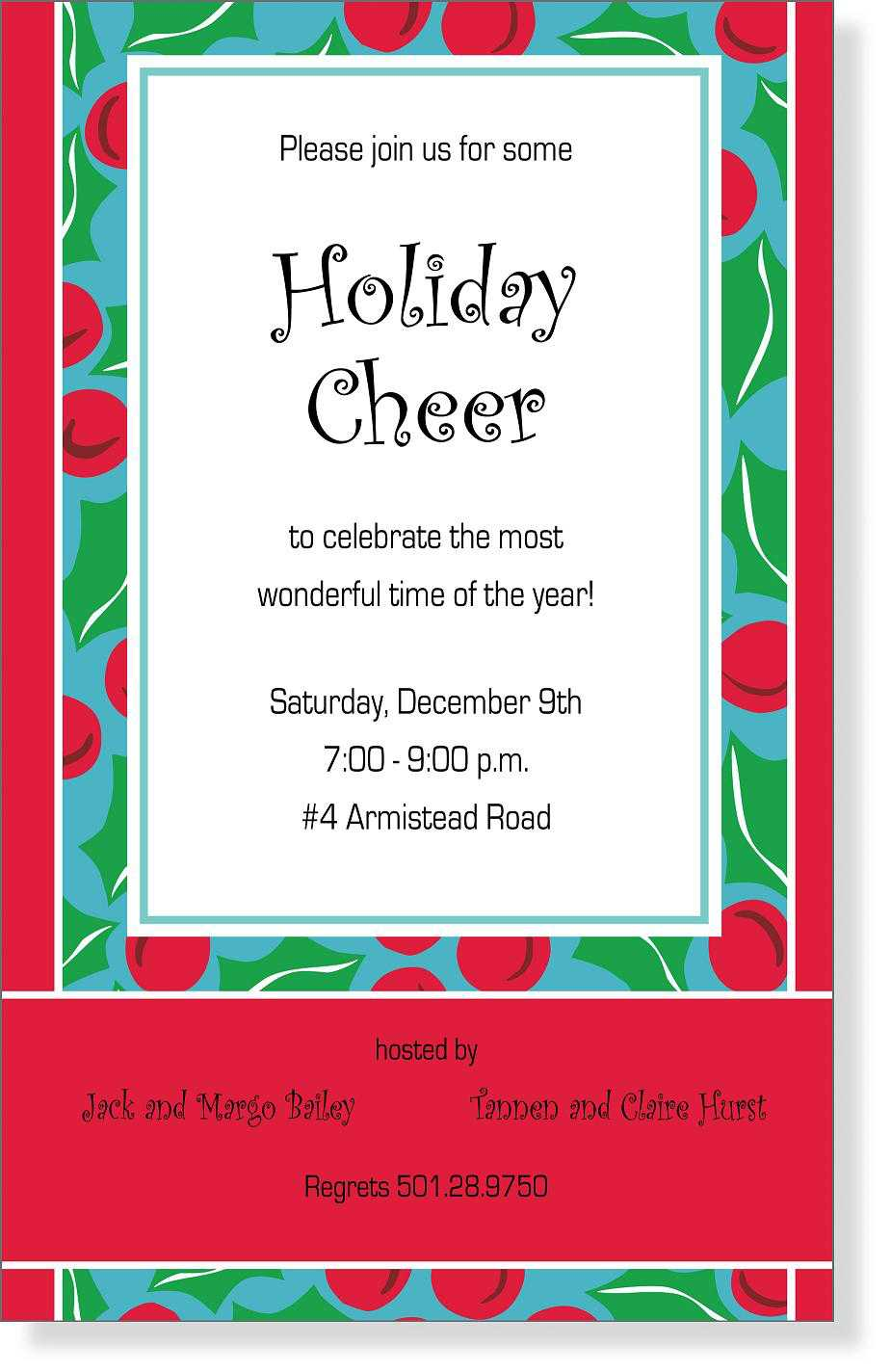 Sample Christmas Invitation Templates