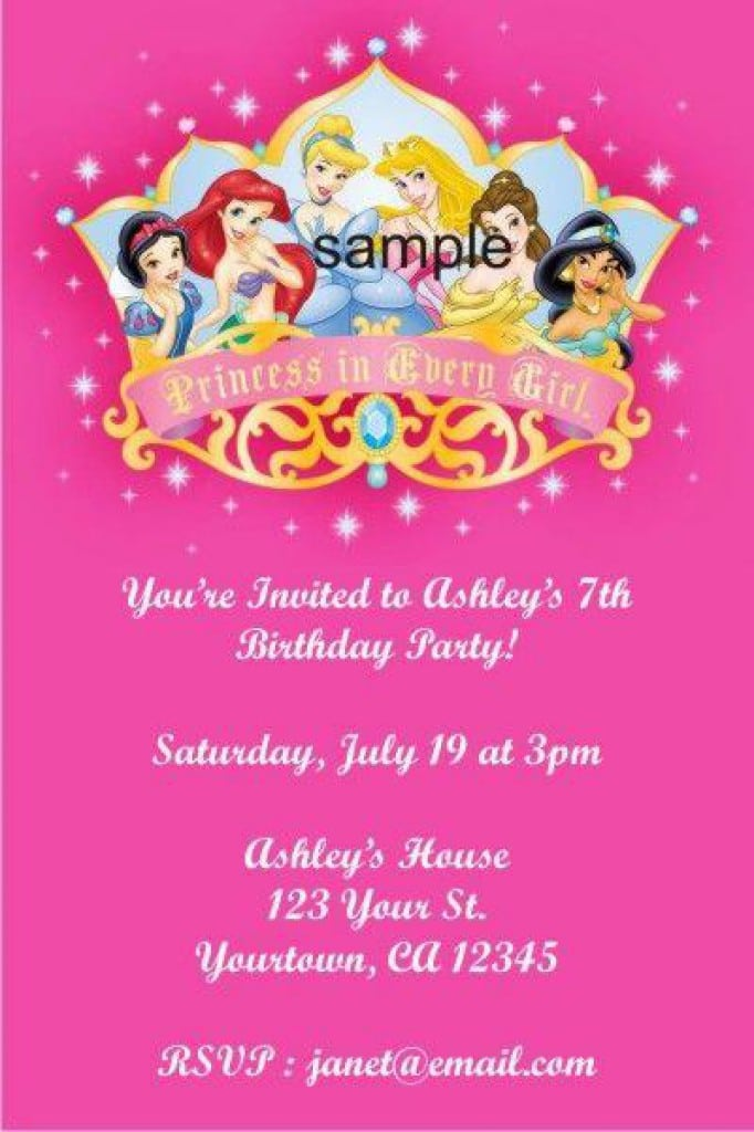 Sample Disney Princess Invitation 2