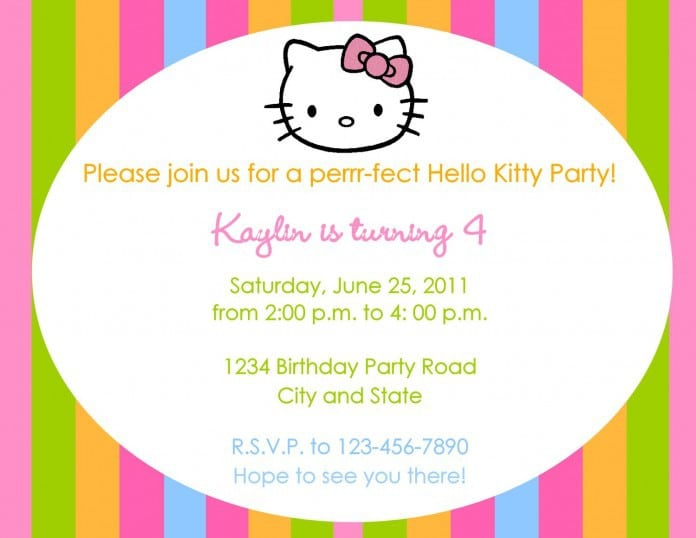 Sample Hello Kitty Party Invitations 4