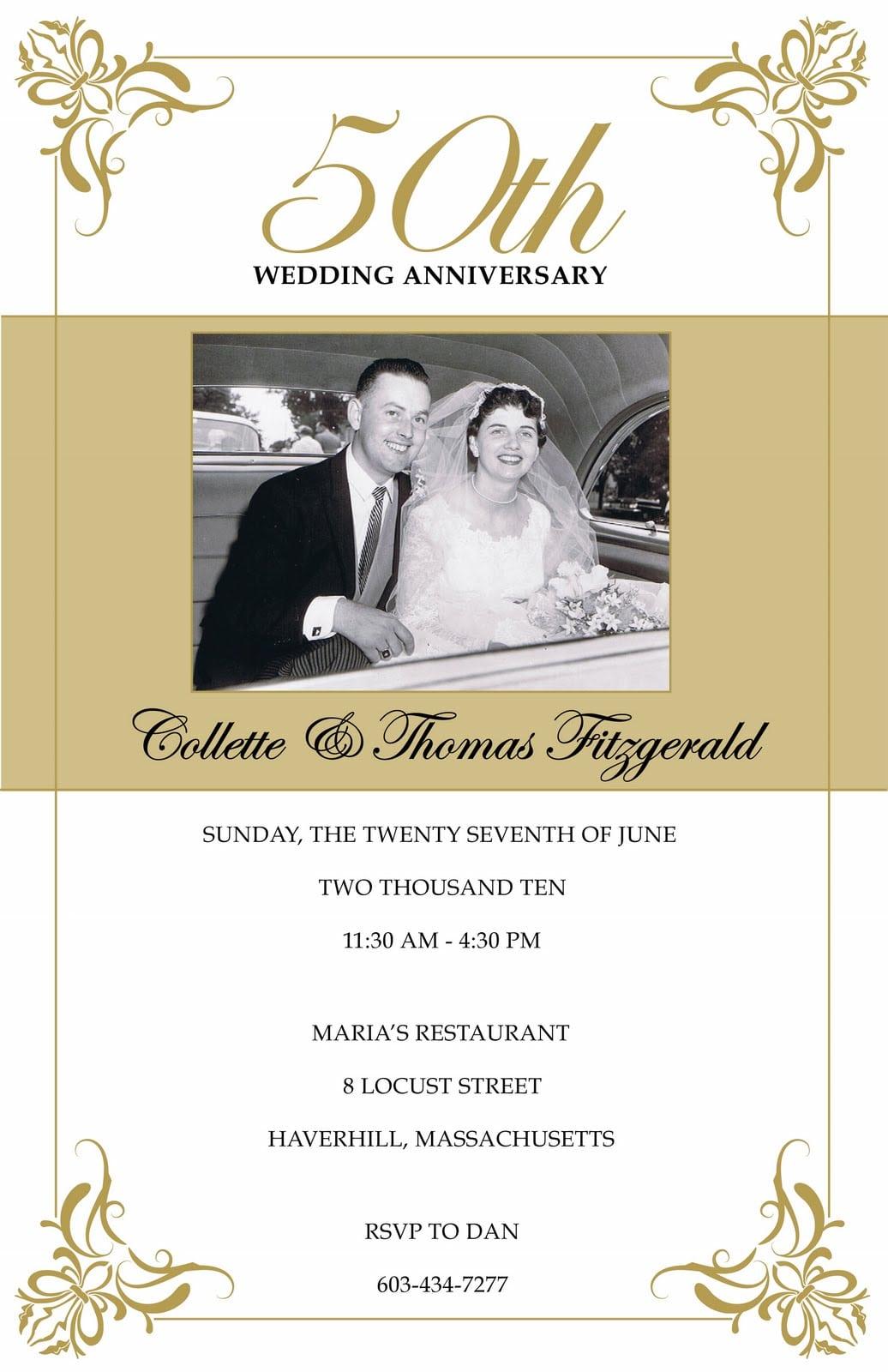 Sample Invitation For Wedding Anniversary