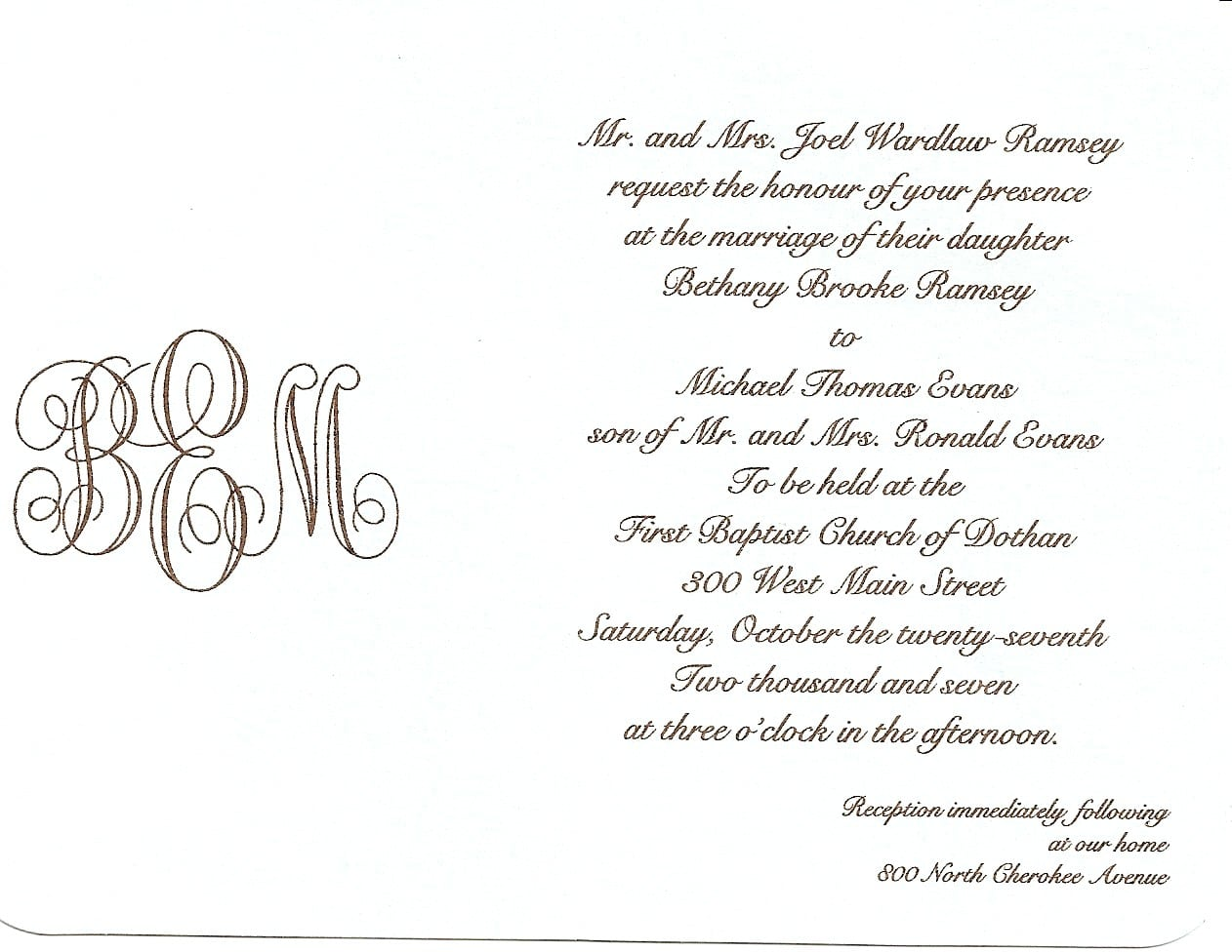 Sample Wedding Invitation Letter
