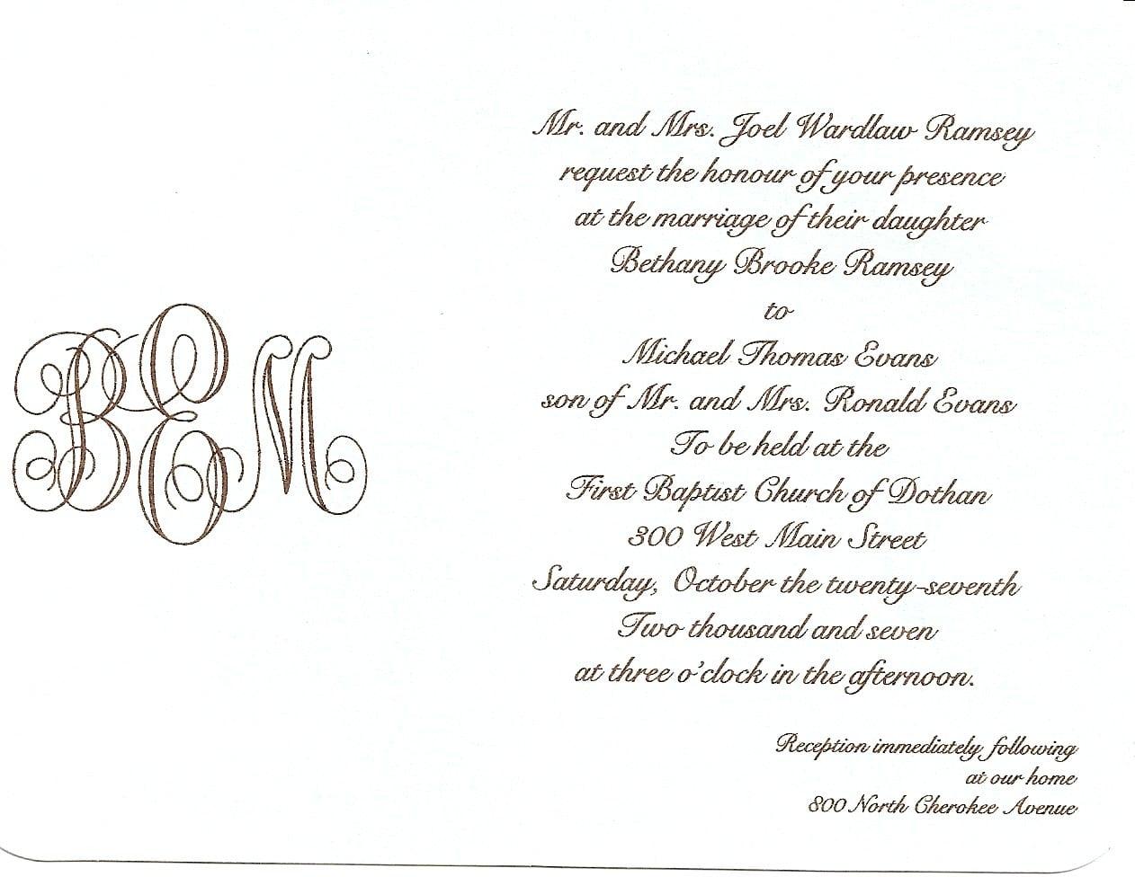 Sample wedding invitation sample wedding invitation letter stopboris Gallery