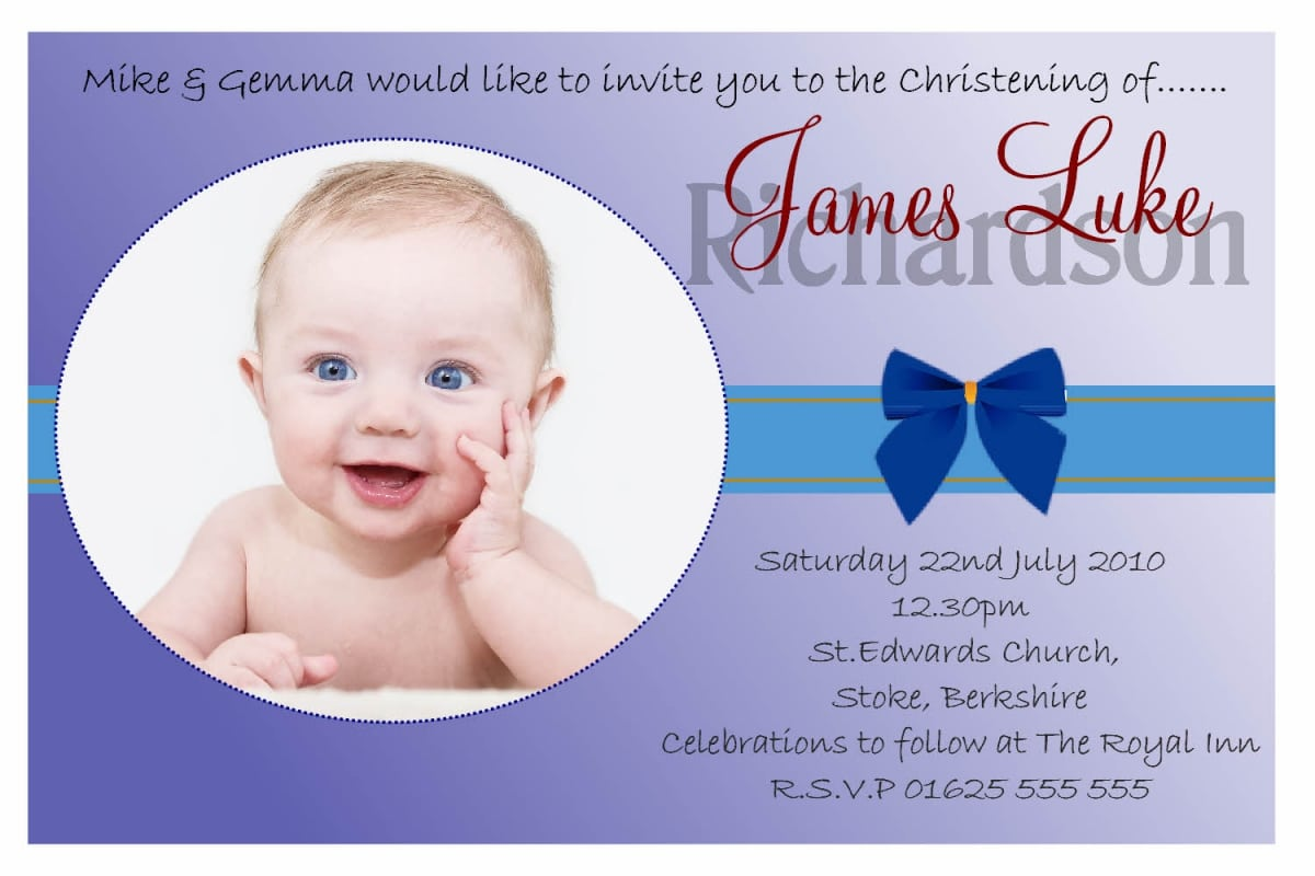 Samples Of Baptism Invitations