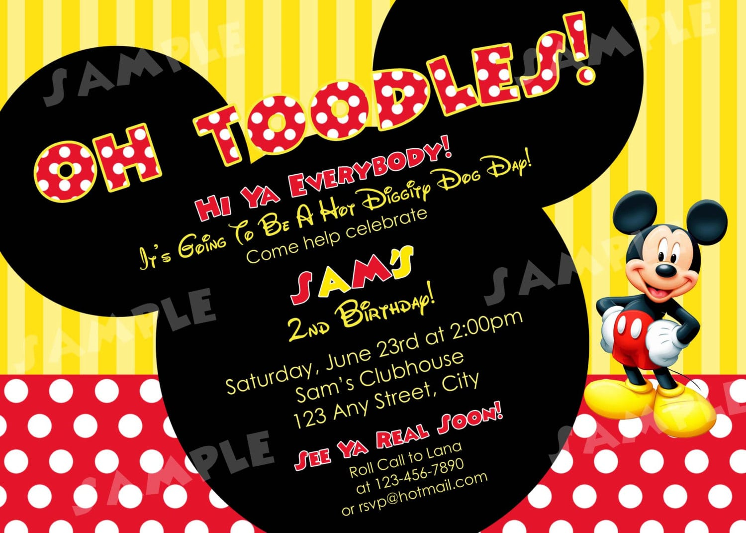 Second Birthday Invitation Wording+mickey Mouse