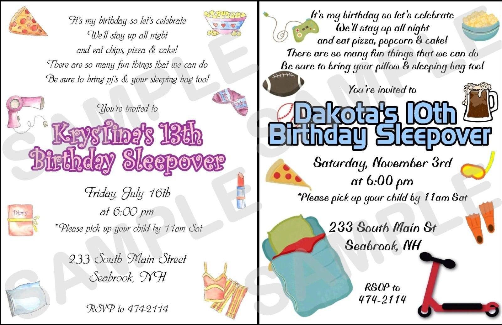 Sleepover Birthday Invites For Girls Fill In 2