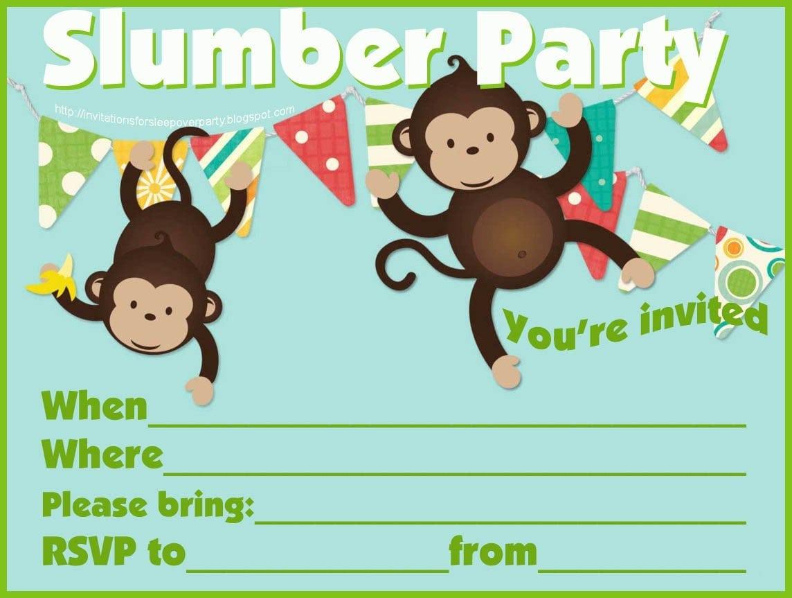 Sleepover Birthday Invites For Girls Fill In 3