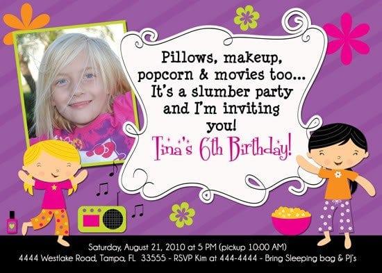 Sleepover Birthday Invites For Girls Fill In 4