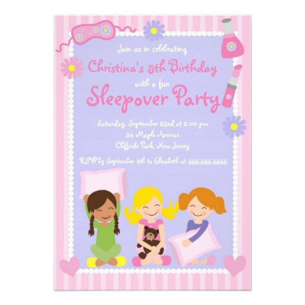 sleepover birthday invites for girls fill in
