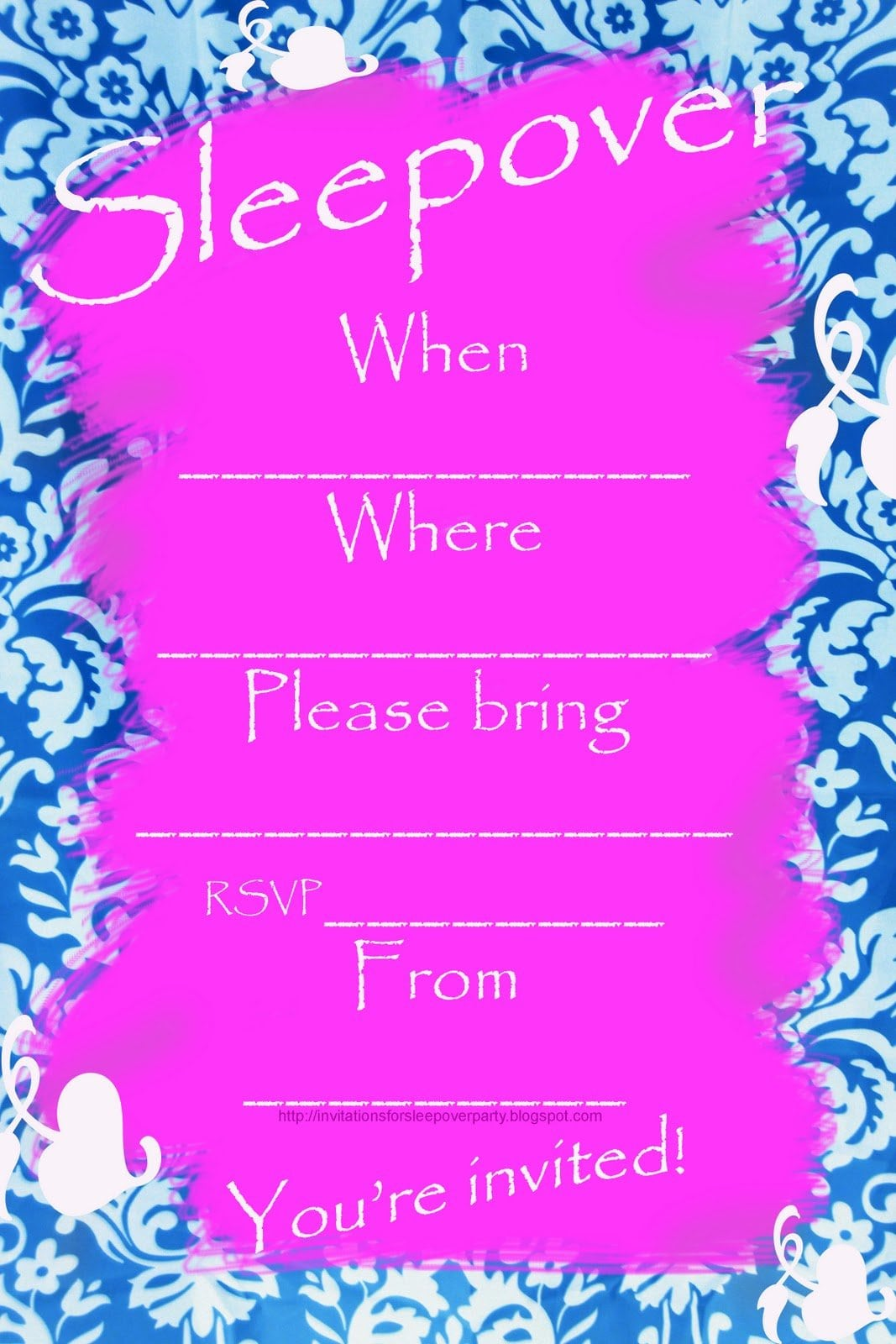 Sleepover Invitations For Tween Girls Printable