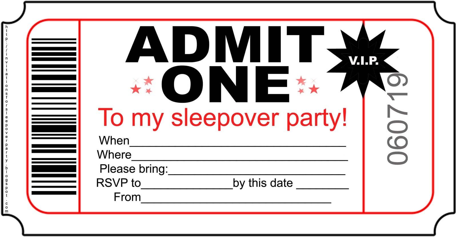 sleepover invitations to print free