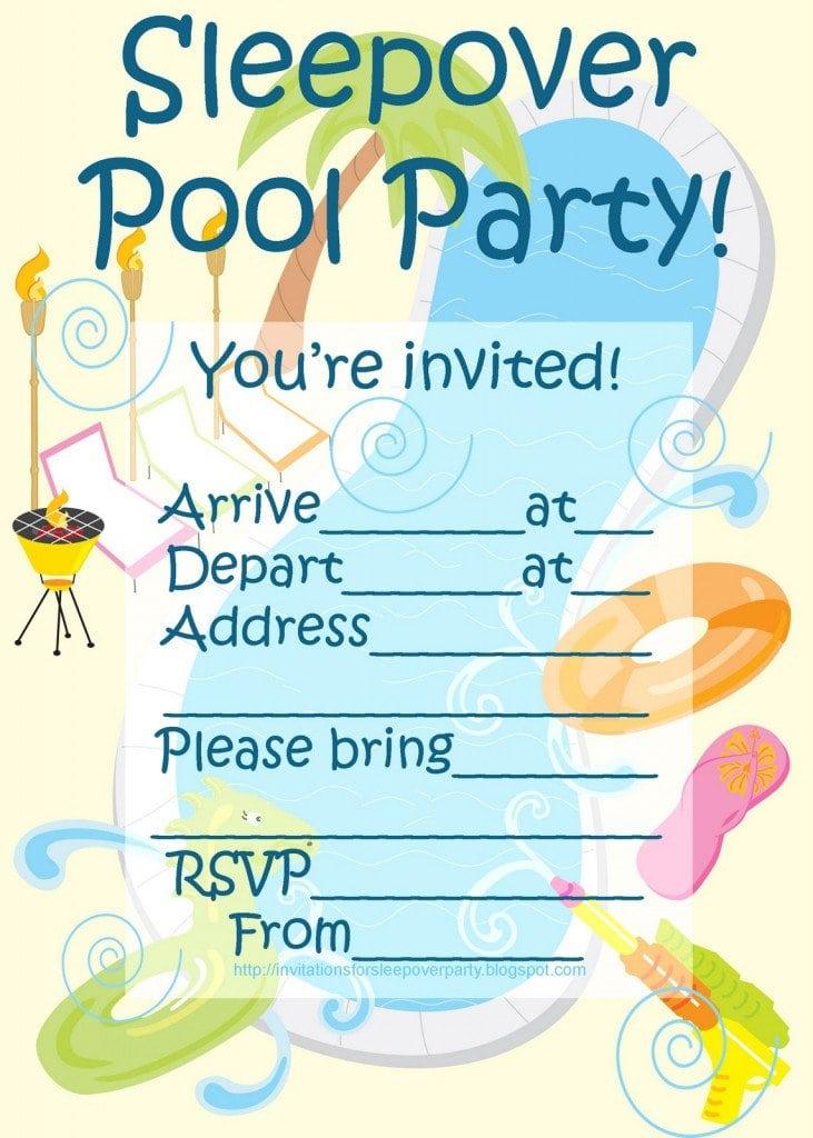 Sleepover Spa Party Invitations Templates Free