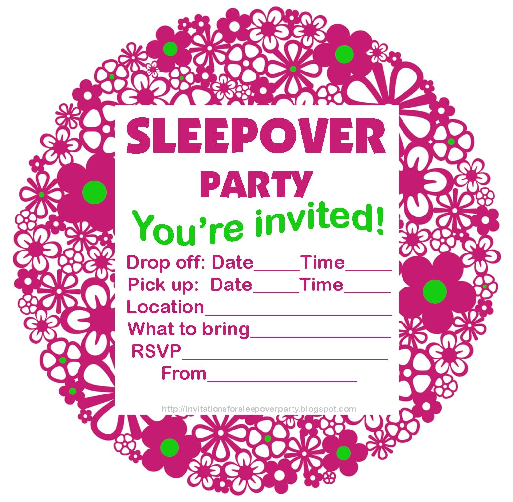 Slumber Party Invitations Free Print