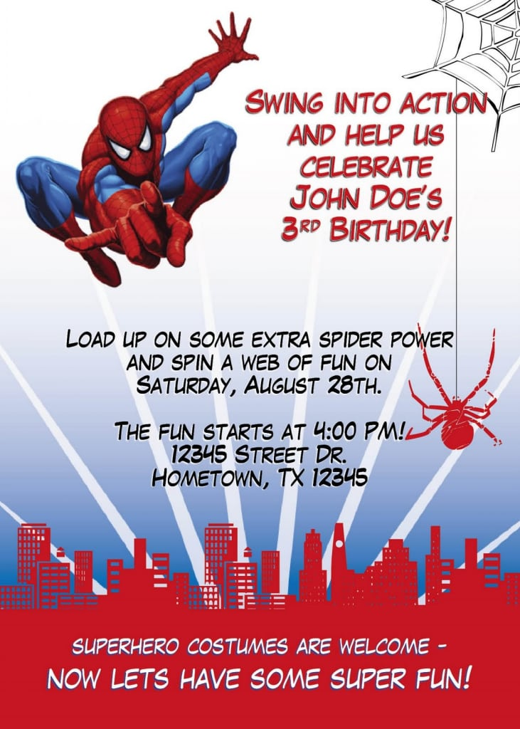 Spiderman Birthday Invitation Ideas