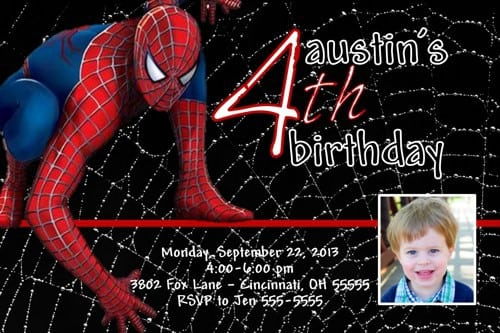 Spiderman Invitations Template 3