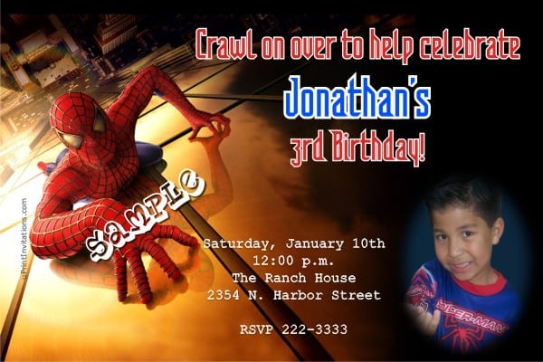 Spiderman Invitations Template