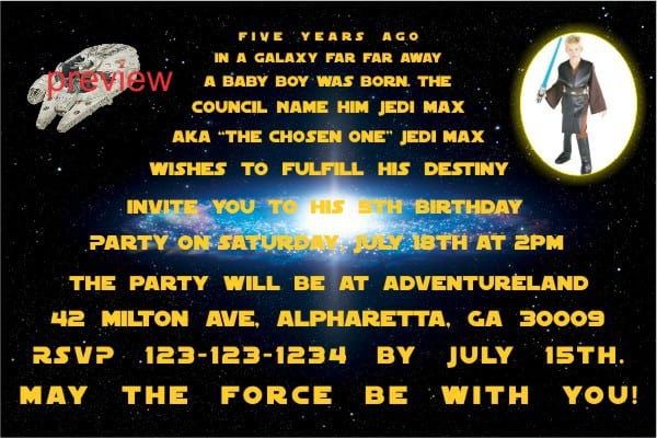 Star Wars Invitation Birthday 2