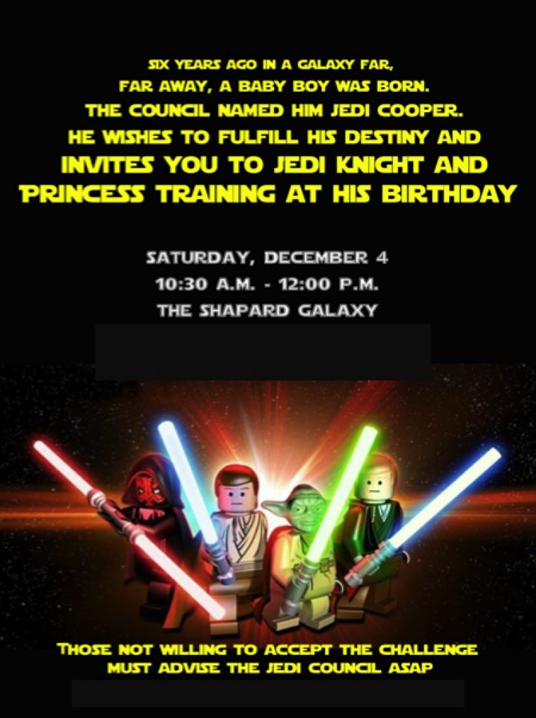 Star Wars Invitation Birthday
