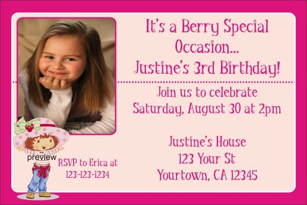 Strawberry Shortcake Invitations Free 5