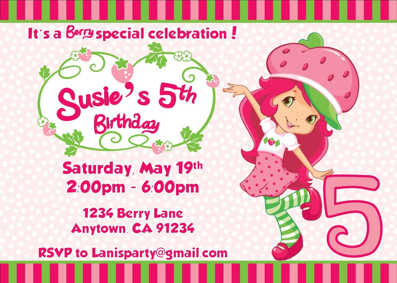 strawberry birthday invitation - HD1500×1071
