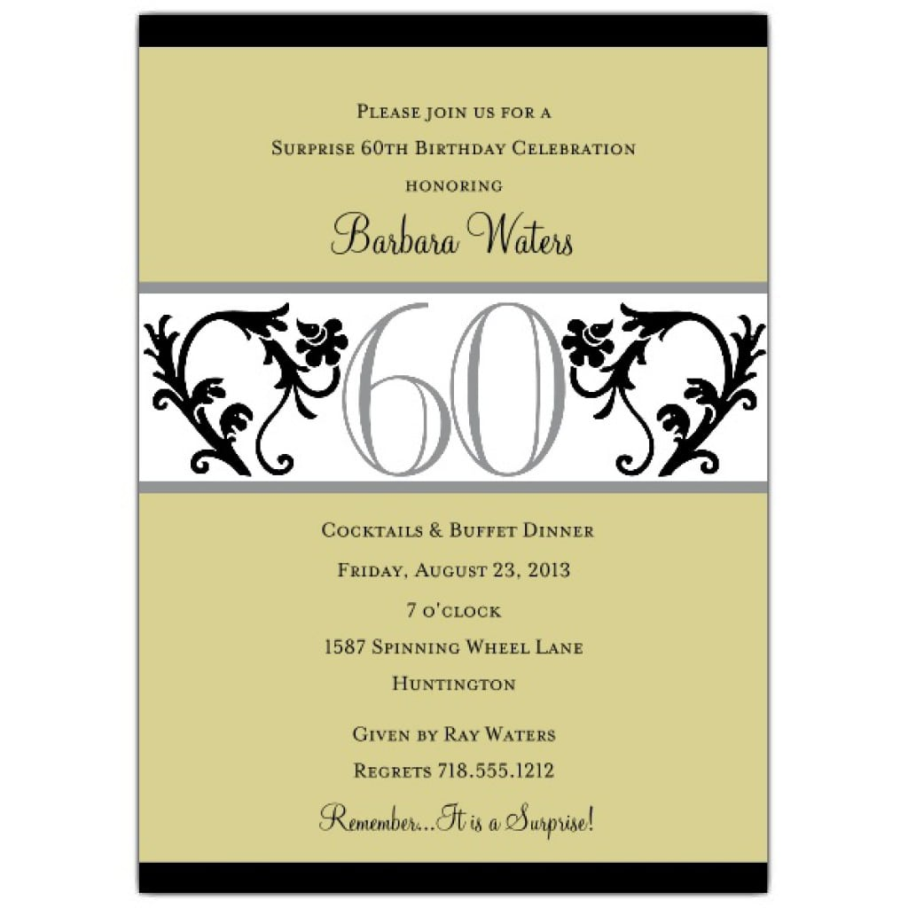 Surprise 60th Birthday Invitation Templates Free 3