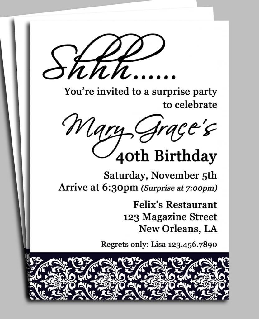 Surprise Birthday Party Invites Wording