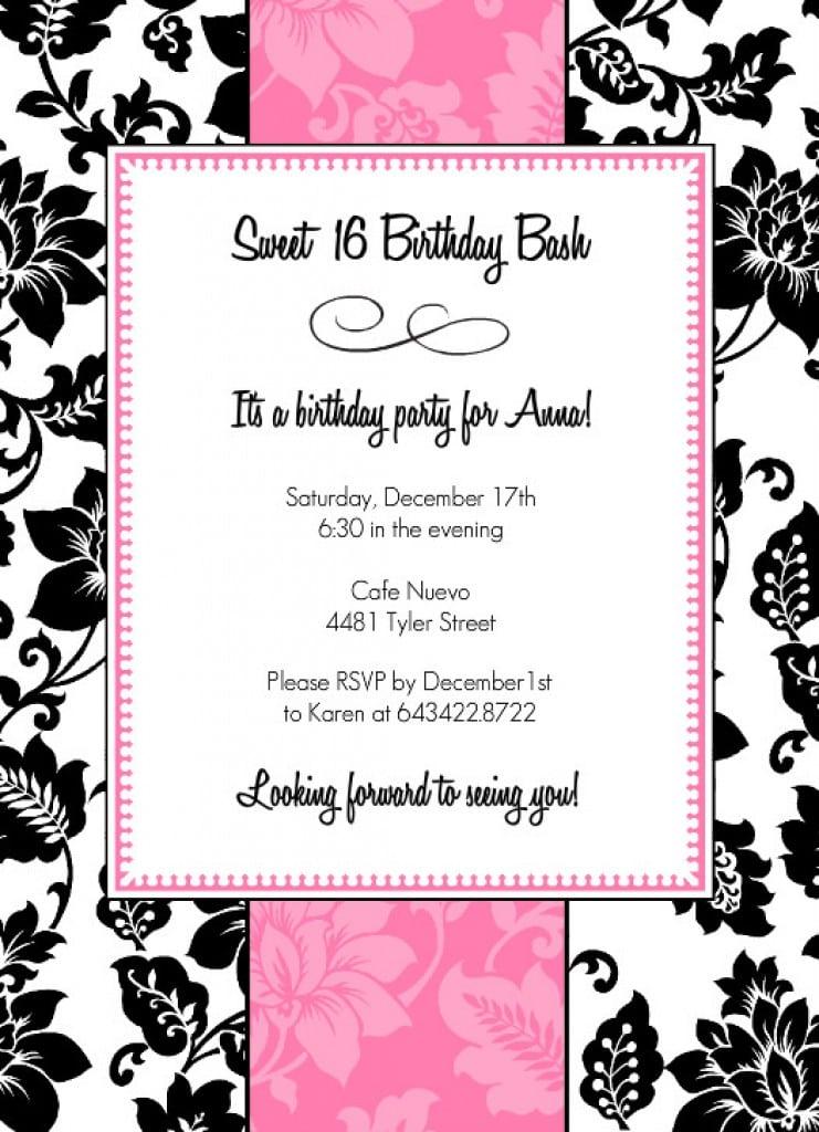 Sweet Sixteen Birthday Invitations Templates