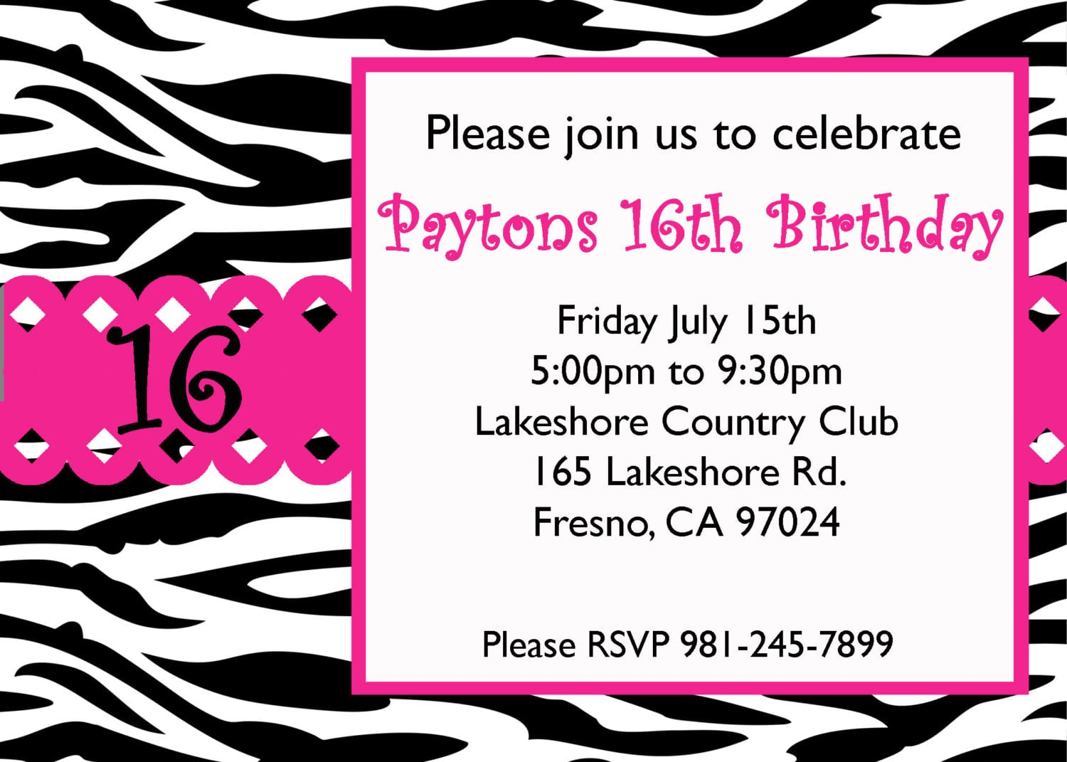 Sweet Sixteen Birthday Invitations Templates