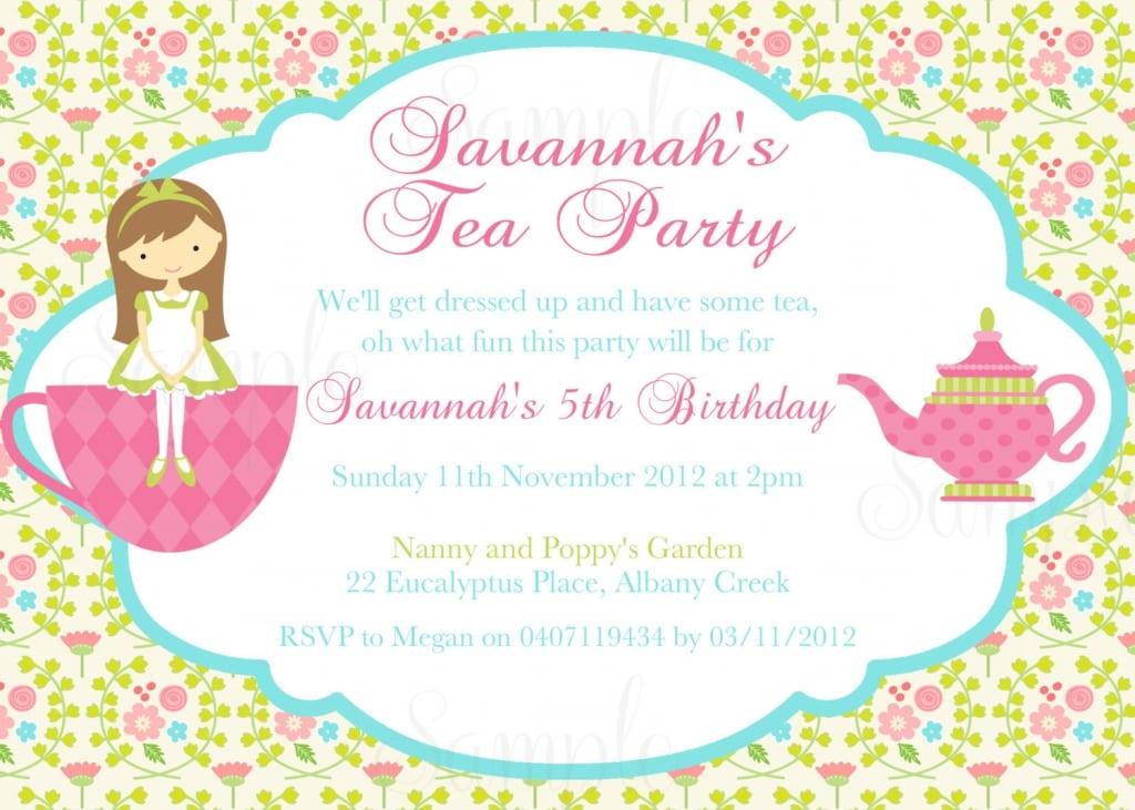 Tea Party Birthday Invitations Printable