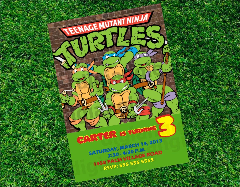 Teenage Mutant Ninja Turtles Birthday Party Invitations Free