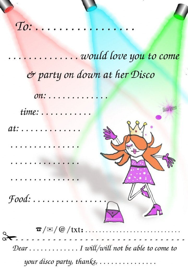 Template For Disco Party Invitation