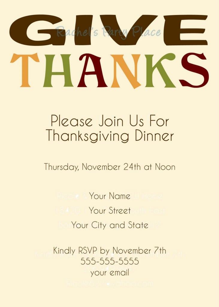 Thanksgiving Dinner Invitations Templates