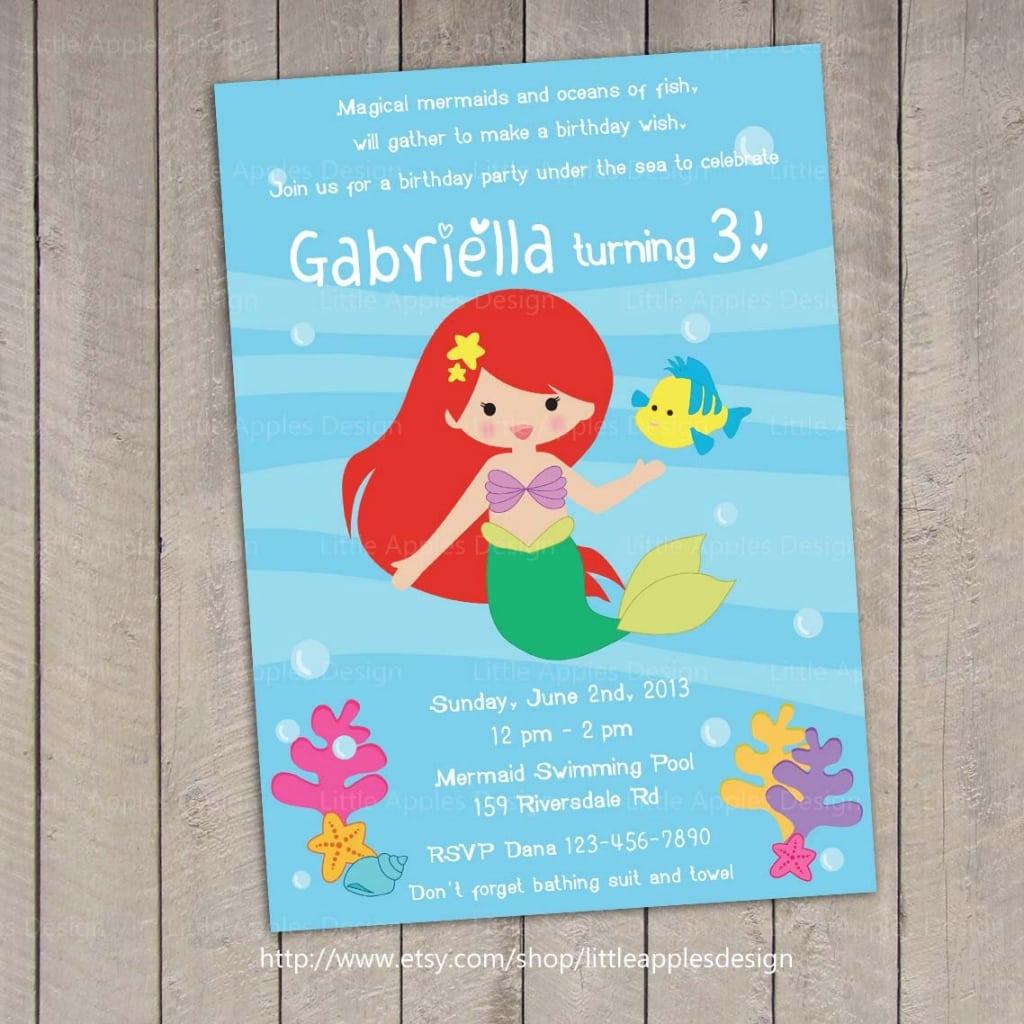 The Little Mermaid Invitations Etsy