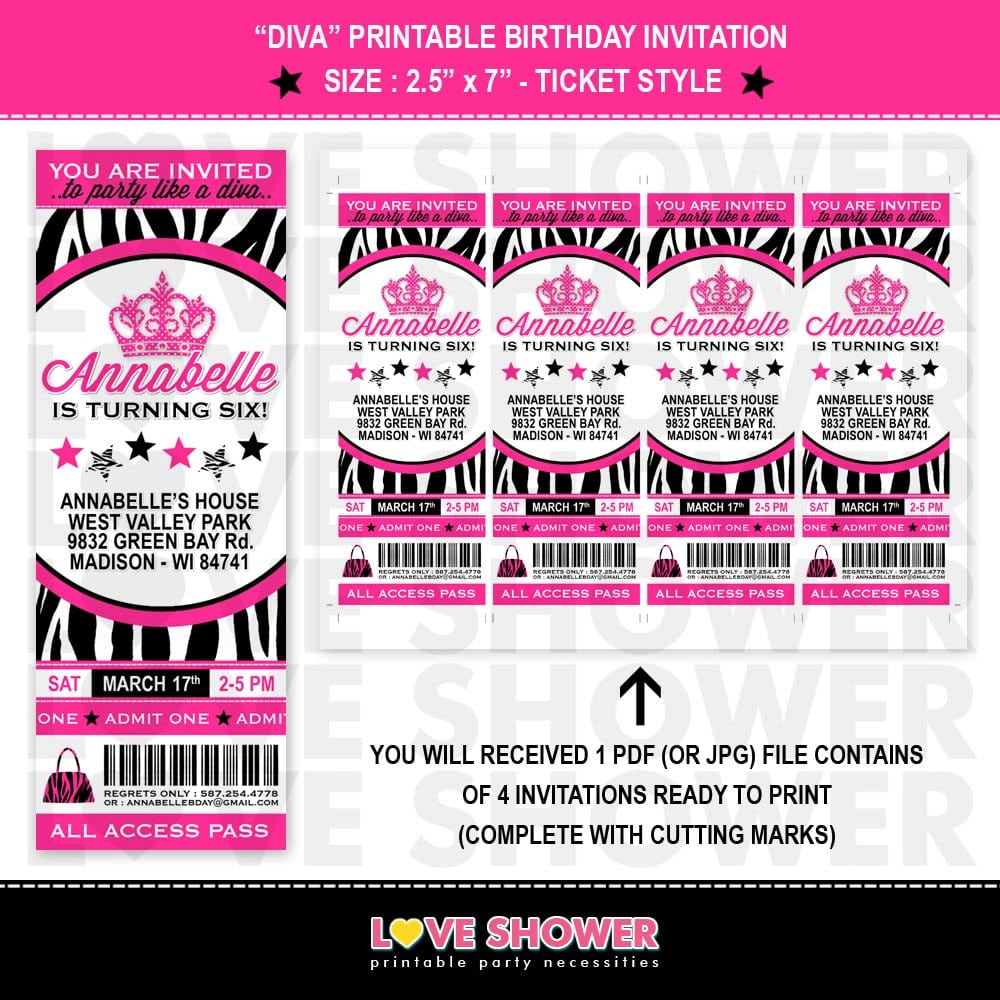 Ticket Invitation Template Printable