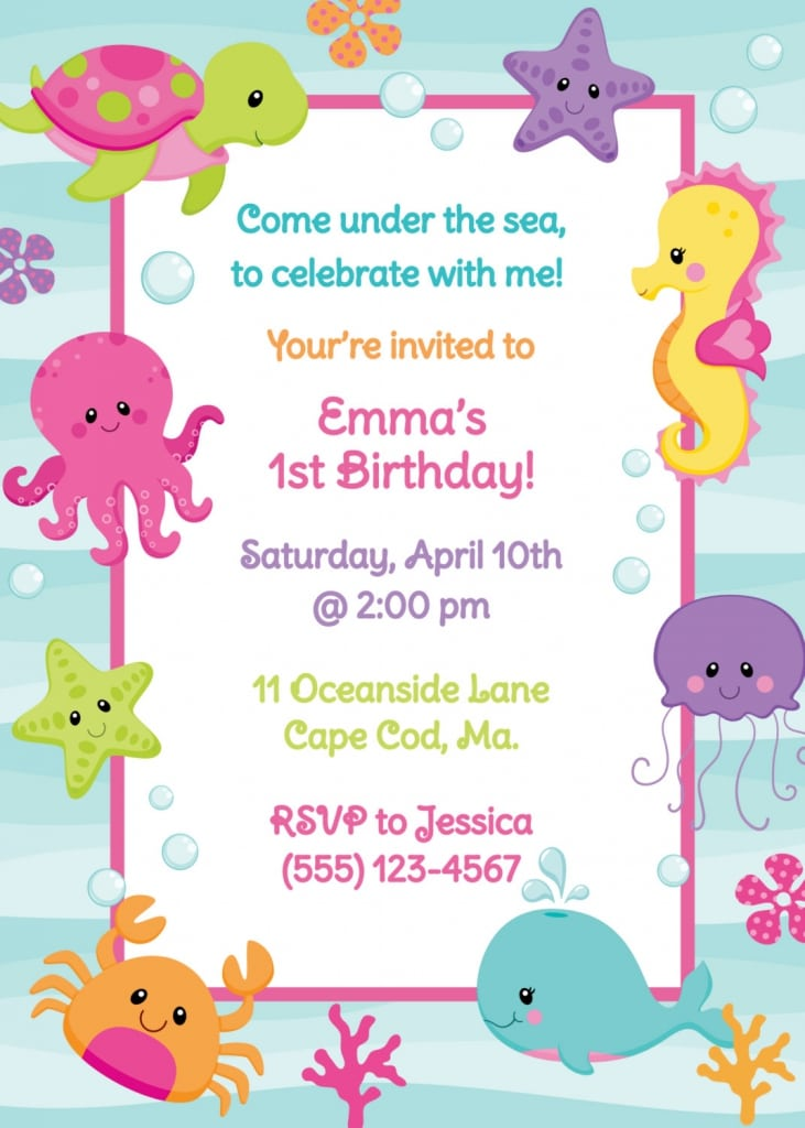 under the sea party invitation printable free as well as under the sea ...