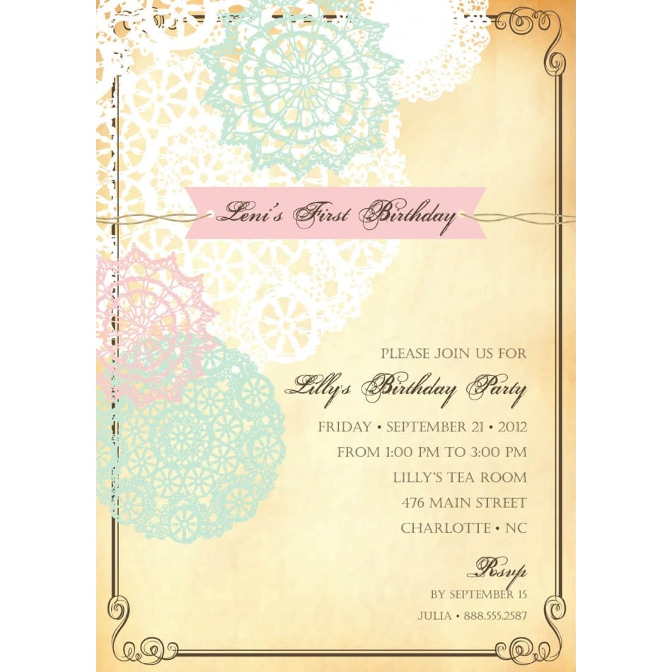 Vintage Birthday Invitations Templates