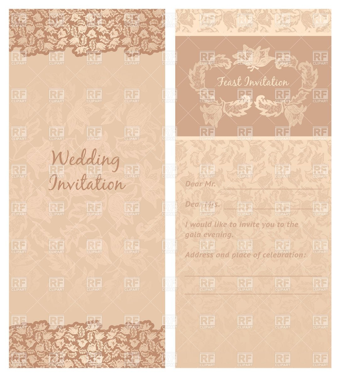 Vintage Invitation Template Free Vector