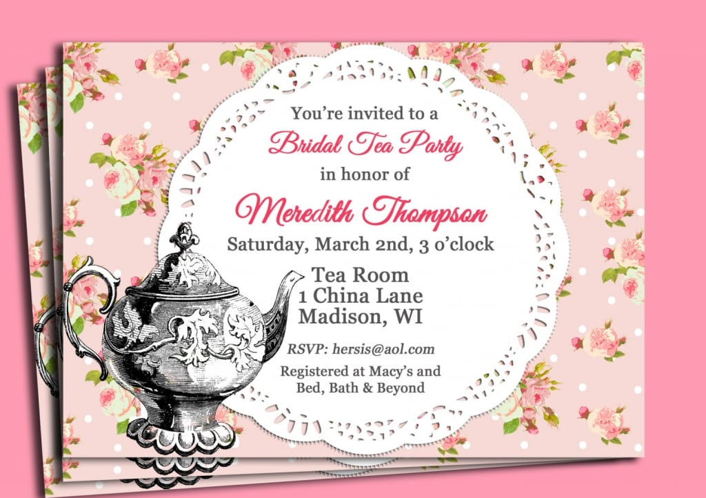 Vintage Tea Party Invitation Wording