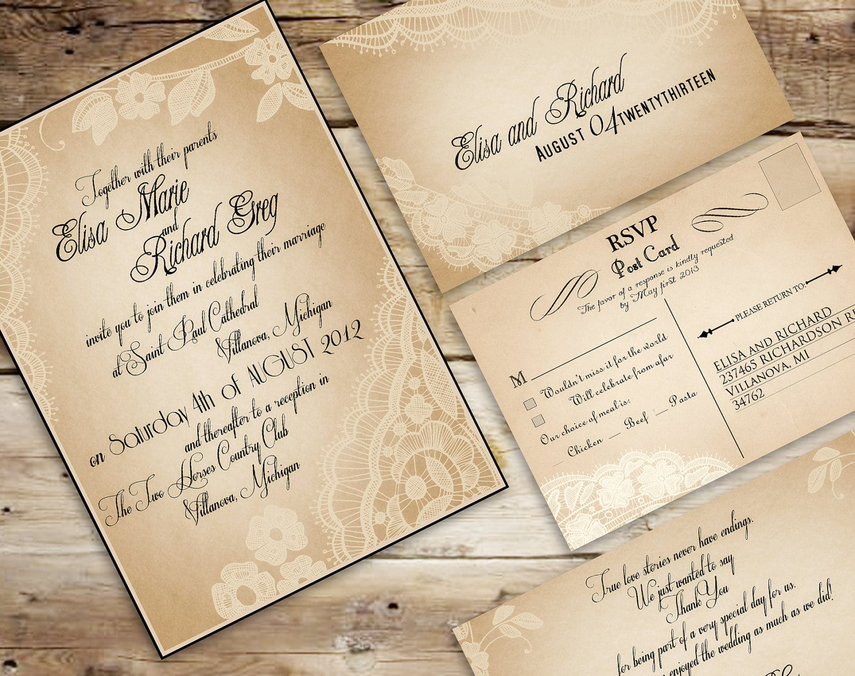 Vintage Wedding Invites Cheap
